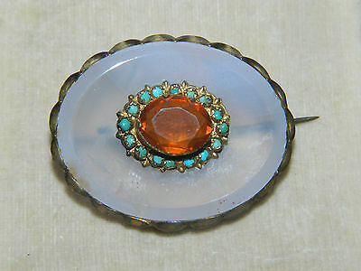 Antique Victorian chalcedony, citrine and turquoise brooch
