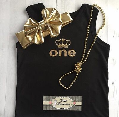 1st Birthday Girl Glitter ONE With Tiara 3pc Outfit Gold Glitter One Black Tank