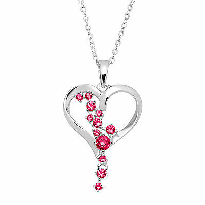 1/3 ct Created Pink Sapphire Heart Pendant in Sterling Silver