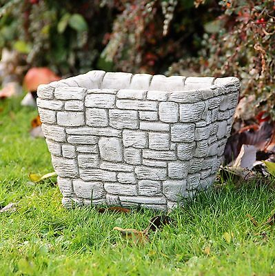 Square Flower Pot Planter Hand Cast Stone Garden Ornament Patio Decor Gift