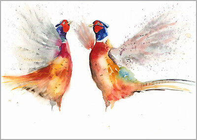 HELEN ROSE Limited Print  FLAPPING PHEASANTS bird art watercolour painting 210