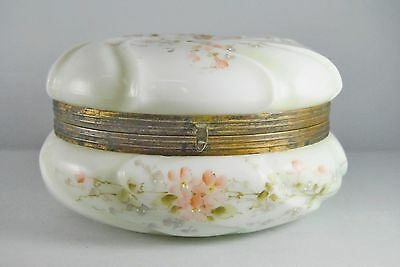 Antique Victorian Wavecrest Art Glass Dresser Box C.F Monroe Co. Meriden CT