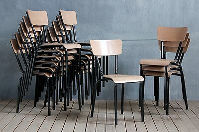 4 x Vintage MidCentury Industrial Tubular Stacking School Cafe Dining Chairs