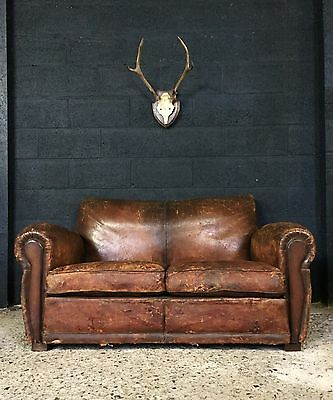 Stunning Vintage Antique French Leather Club Chair Sofa