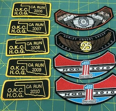Lot Of 9  Harley Davidson Owners Group (HOG) Patches 2006-2010