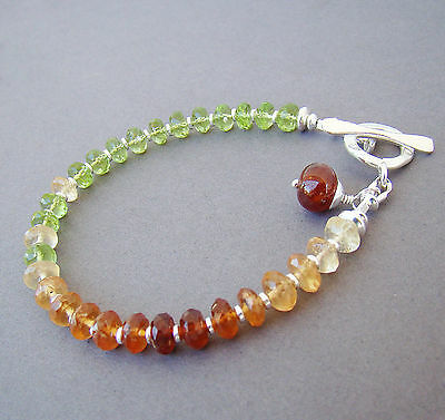 U&C Sundance Shaded Hessonite Garnet, Peridot & Sterling Silver Toggle Bracelet