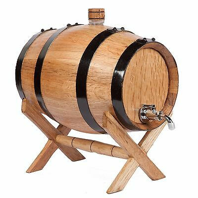 2 Liter  Oak Barrel for aging whiskey / metal faucet & cap with plastic screw