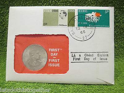 **first Day Postal Issue** Padraig Pearse 1966 10 Ten Shilling Silver Irish Coin