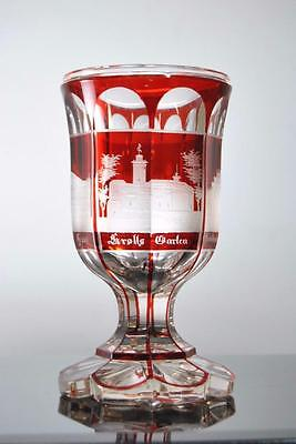 Antique Bohemian Cranberry To Clear German Architectural Goblet Chalice Glass