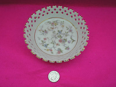 Collectable Small China Dish Basket Weave Flower Design