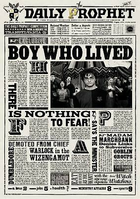 Harry Potter - The Boy Who Lived - Daily Prophet -  Poster Print A4,A3,A2