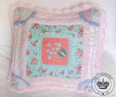 Shabby Chic Pillow Cover - Cottage Chenille Quilt Pastel Colors