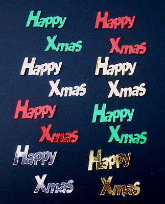 *HAPPY XMAS*x 8 -  Die-cuts- RED - GREEN- GOLD - SILVER* Scrapbooking/Cardmaking