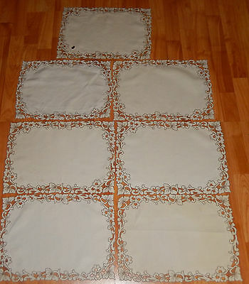 Vintage Mid Century Lot Of 7 Madeira Placemats Ecru Cutwork Paper Tag