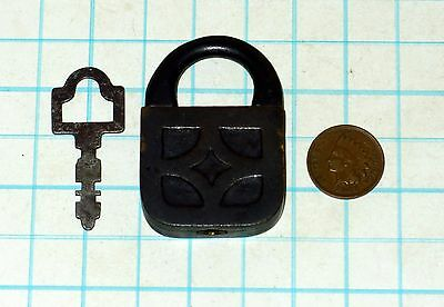 Genuine Antique Vtg Small All Brass Square E.T. Fraim Warded Padlock Lock & Key