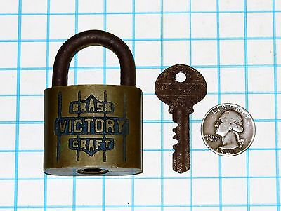 Genuine Vtg Antique Old Reese Lock BRASS VICTORY CRAFT Warded Padlock & 803 Key