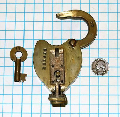 Vtg Antique old Solid Brass Slaymaker Seal Lock Lever Padlock and Barrel Key 17