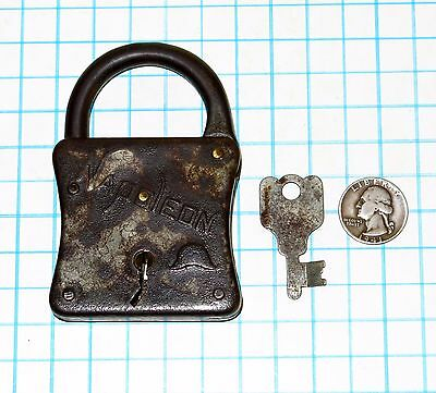 Genuine Vtg Antique Old Slaymaker Lock Co Big NAPOLEON Iron Lever Padlock & Key