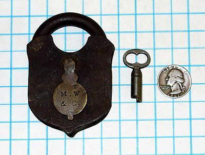 Genuine Vtg Antique Mallory Wheeler Lock Co Smokehouse Padlock & Cylindrical Key