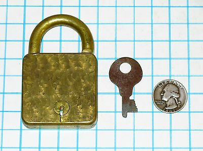 Genuine Vtg Antique Strange Maverick Eagle ? Brass Lever Padlock Lock & Flat Key