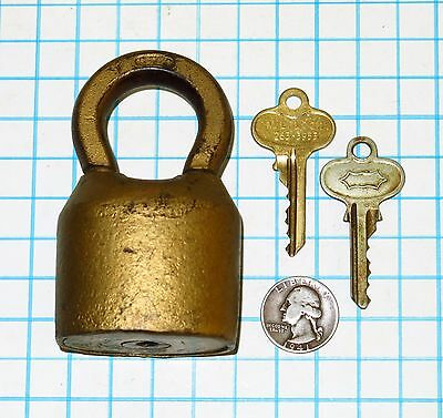 Antique Vtg old HUGE Segal Scandinavian Pin Tumbler Padlock & 2 Brass Keys Lock