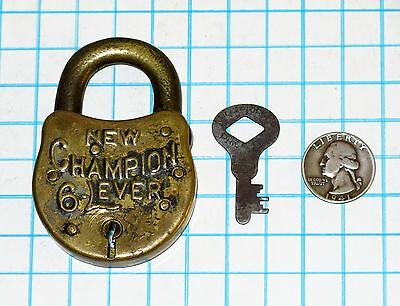 Genuine Vtg Antique Old NEW CHAMPION 6 LEVER Six Miller Lock Co Padlock and Key