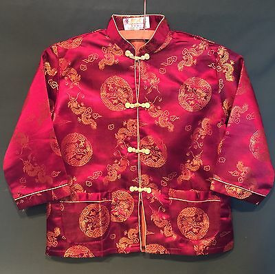 CHINESE Child's FLORAL CHEONGSAM Traditional Jacket Deep Eggplant Burgundy (14)