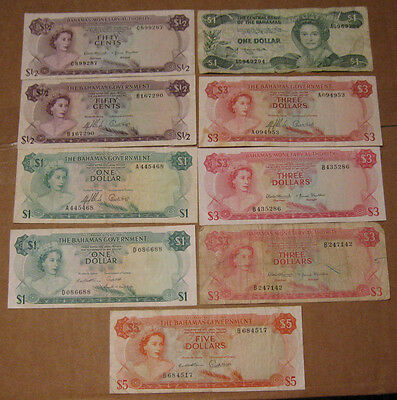 Bahamas - Group of (9) Older Banknote (50 Cents, $1, $3, $5)
