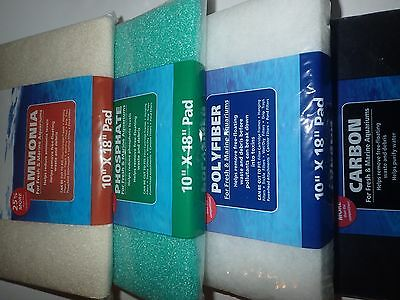 """4 x Carbon, Ammonia, Polyfiber & Phosphate Cut To Fit Filter Pads 10"""" x 18"""""""