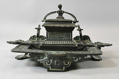 Antique Victorian Bronze Inkwell with Verdigris Patina