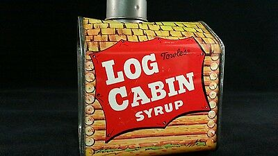 Vintage Log Cabin Syrup Tin Bank Towles Collectable Movie Set Man Cave Metal