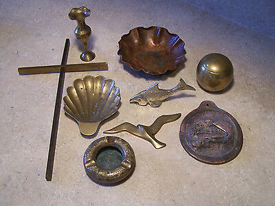Lot of 9 pieces Brass and Copper - Drumgold Copper Bowl, Brass Cross, Baseball