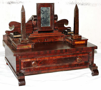 1848 Empire child doll miniature dresser, jewelry chest, mahogany, burl, 13""