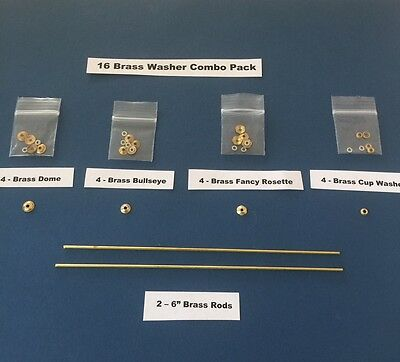 16 Brass Combo Pack collars/washers/pins to repair old straight razors Wade