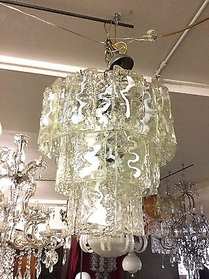 Large Murano Glass Italian Midcentury Chandelier Designed By  Mazzega
