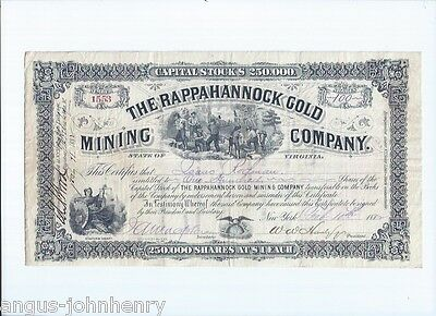 1882 THE RAPPAHANNOCK GOLD MINING Co. STATE OF VIRGINIA STOCK CERTIFICATE #1553