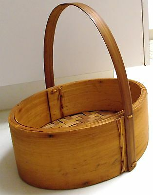 "SHAKER Style Hand Crafted Woven Basket Woven Bottom -11""x 11"" Estate Vintage"