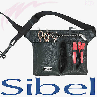 Sibel Professional Hairdressing Black Belt Tool Bag Waist Belt Croco 4 Scissors