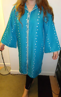 Moroccan     Djellaba    Kaftan      Blue & White   North African Dress