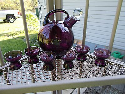 Cambridge Glass Amethyst Colored Tilt Ball Decanter with Stopper & 6 Cordials