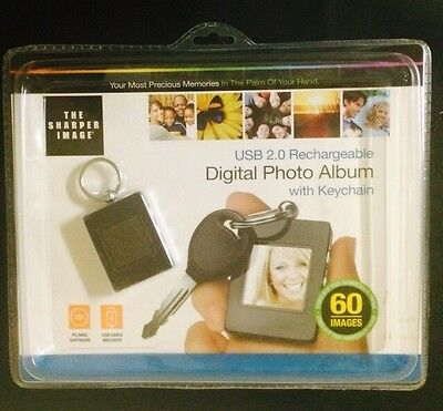 Digital Photo Album W/ Keychain Sharper Image USB 2.0 Rechargeable 60 Images NEW