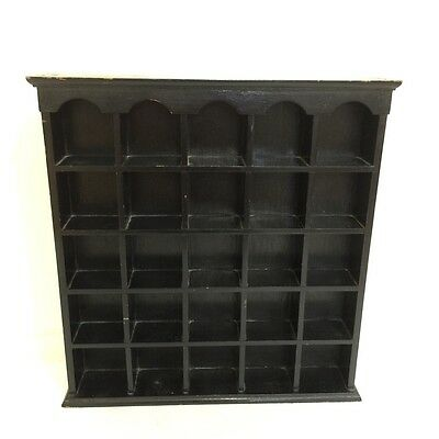 Solid Wood Black Wall Curio Cabinet for Miniatures Display Case