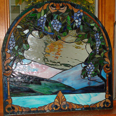 vtg Sun Catcher Grapes vineyard Tiffany Style Leaded Stained Glass Window 24x24""