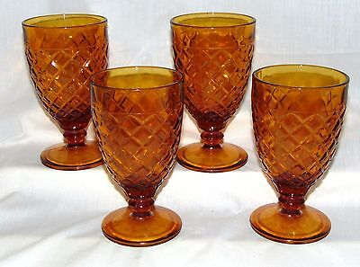"4 Anchor Hocking WATERFORD/WAFFLE AMBER *5 5/8"" GOBLETS* HARD TO FIND*"