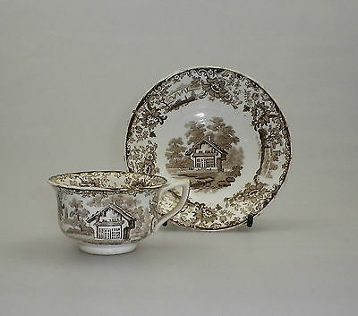 Early 19th C Child's Tea Cup and Saucer