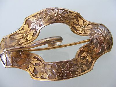 1885-1910 Gold Brass Floral Etched Curved Scalloped Scarf Sash Buckle Dress PIN