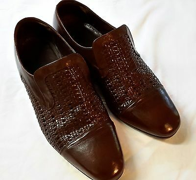 Vintage Men's Cognac Brown Woven Instep Loafers/Slip ons Size10.5 EE