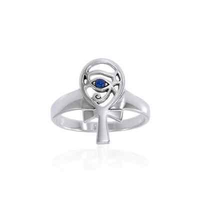 Eye of Horus Ankh Lapis Egyptian .925 Sterling Silver Ring Peter Stone Jewelry