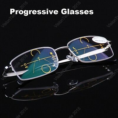 Metal Frames Progressive Glasses  Varifocal Lens Eyewear Far Distance & Reading
