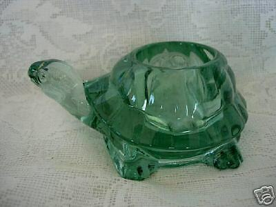 Collectible Vintage Sage Green Solid Glass Turtle Votive / Tealight